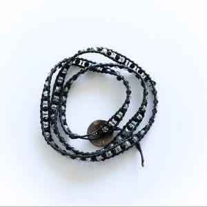Black wrap bracelet beads boho jewelry long